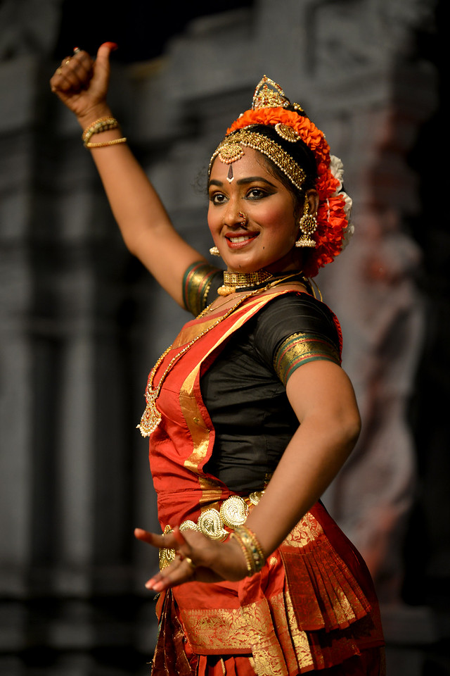"Kuchupudi performance by Reddi T Lakshmi.<br /> Performance at Chidambaram Natyanjali Dance Festival 2015 held at Chidambaram in February 2015. The festival is known for its serenity and uniqueness of the devotion of the dancers dedicating their ""Natya"" (Dance) as ""Anjali"" (Offering) and worship to the Lord of Dance - Lord Nataraja (Shiva).<br /> T. Reddi Lakshmi is a talented Kuchipudi performers having learnt for the last 15 years under the eminent Gurus Padmasri Jayarama Rao and Vanashree Rao. Lakshmi is an empanelled artist of ICCR. Lakshmi has received the prestigious Nritya Shiromani award for her excellence in Kuchipudi Dance in the International Cuttack Mahotsav and the prestigious title of Nritya Jayantika from Mayadhar Raut Odissi Dance Academy."