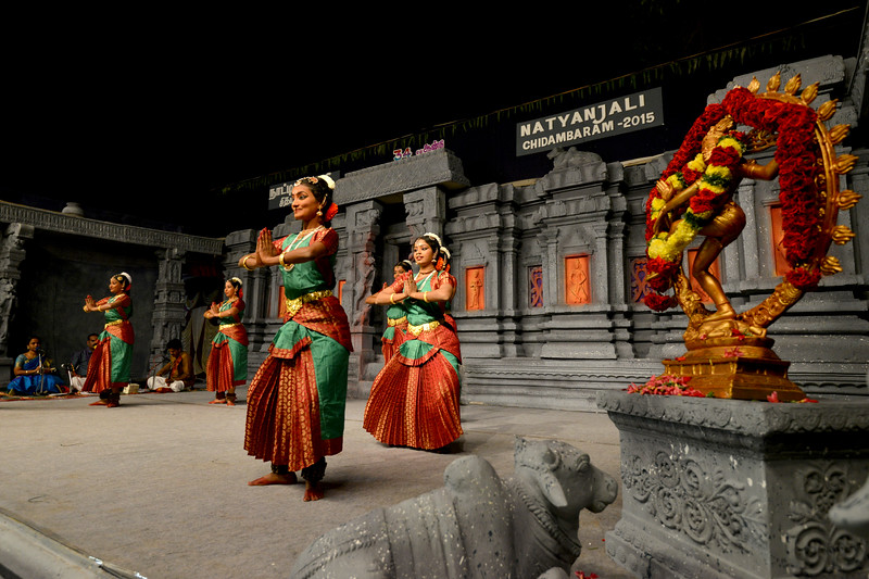 """Performance by Sri Sai Nataraja Academy of Kuchipudi Dance, Hyderabad. Guru Ms Lavanya Basava. <br /> Students danced at Chidambaram Natyanjali Dance Festival 2015 held at Chidambaram in February 2015. The festival is known for its serenity and uniqueness of the devotion of the dancers dedicating their """"Natya"""" (Dance) as """"Anjali"""" (Offering) and worship to the Lord of Dance - Lord Nataraja (Shiva)."""