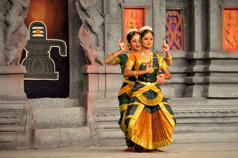 "Bharatham: Nataraja Arts Academy Students of Guru Sirisha,  Bangaluru performing at Chidambaram Natyanjali Dance Festival 2015 held at Chidambaram in February 2015. The dancers dedicate their ""Natya"" (Dance) as ""Anjali"" (Offering) and worship to the Lord of Dance - Lord Nataraja (Shiva)."