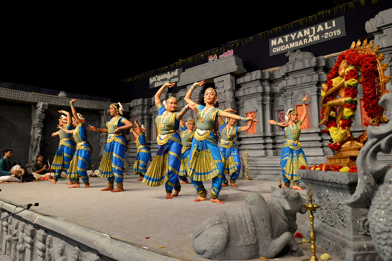 "Bharatham: Nrithyangan School of Dance. Sastra University, Thanjavur. Guru: Subramanian<br /> Performance at Chidambaram Natyanjali Dance Festival 2015 held at Chidambaram in February 2015. The festival is known for its serenity and uniqueness of the devotion of the dancers dedicating their ""Natya"" (Dance) as ""Anjali"" (Offering) and worship to the Lord of Dance - Lord Nataraja (Shiva)."