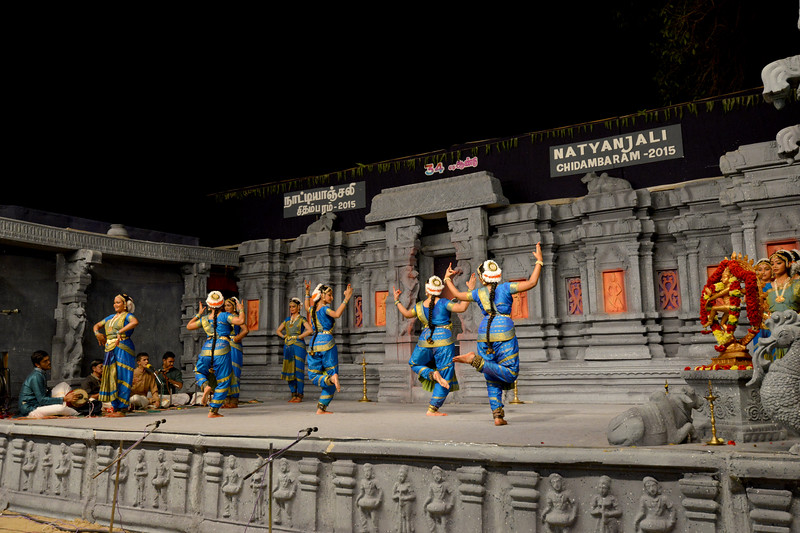 """Bharatham: Nrithyangan School of Dance. Sastra University, Thanjavur. Guru: Subramanian<br /> Performance at Chidambaram Natyanjali Dance Festival 2015 held at Chidambaram in February 2015. The festival is known for its serenity and uniqueness of the devotion of the dancers dedicating their """"Natya"""" (Dance) as """"Anjali"""" (Offering) and worship to the Lord of Dance - Lord Nataraja (Shiva)."""