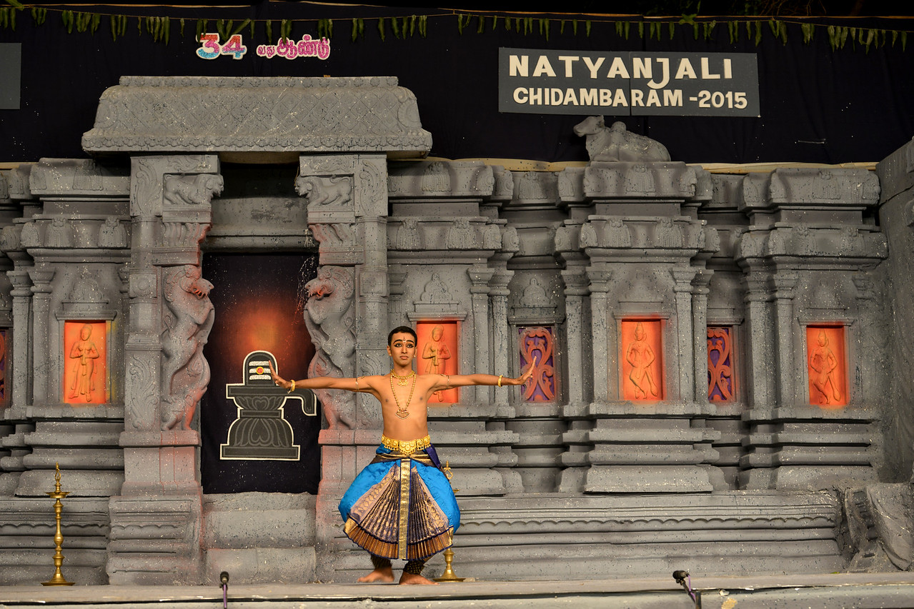 "Bharatham: Paramjothy Muthuvelu, Malaysia performing at Chidambaram Natyanjali Dance Festival 2015 held at Chidambaram in February 2015. The festival is known for its serenity and uniqueness of the devotion of the dancers dedicating their ""Natya"" (Dance) as ""Anjali"" (Offering) and worship to the Lord of Dance - Lord Nataraja (Shiva)."