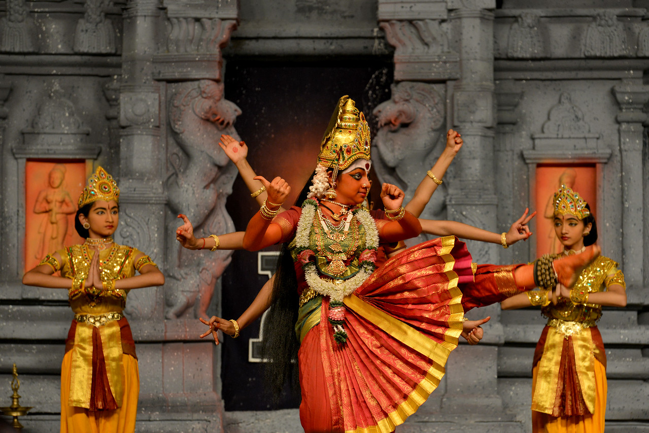 "Bharatham: Janani Jagath Karani, dance drama. Sri Devi Nrithyalaya, Chennai. Guru: Sheela Unnikrishnan. Performance at Chidambaram Natyanjali Dance Festival 2015 held at Chidambaram in February 2015. The festival is known for its serenity and uniqueness of the devotion of the dancers dedicating their ""Natya"" (Dance) as ""Anjali"" (Offering) and worship to the Lord of Dance - Lord Nataraja (Shiva)."