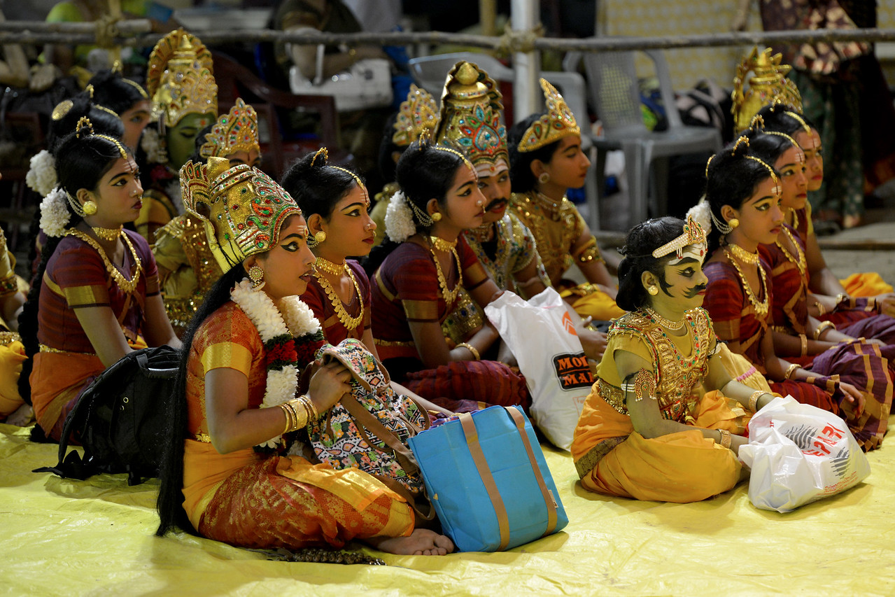 Children who were performing next, watch attentively the Shivakami dance drama by Natya Niketan, Bangaluru. Y.G. Srilatha & Others. Guru: Revathi Narasimhan. Performance at Chidambaram Natyanjali Dance Festival 2015 held at Chidambaram in February 2015.