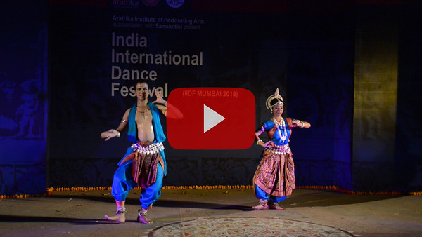 Short video clip of Aritra Das & Abhilasha Panigrahi, Odissi. Pune.  INTERNATIONAL INDIA DANCE FESTIVAL (IIDF MUMBAI 2018) 3rd March 2018. Organized by Aratrika Institute of Performing Arts and Samskritiki for its first season in Mumbai. Classical dance styles, folk, contemporary and fusion were performed over three days of the festival (2nd, 3rd and 4th March 2018).