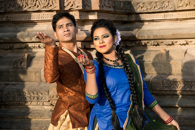 Angel Labonno and Deejay Biju of Lubna Marium's Shadhona Cultural Circle - A Center for Advancement of South Asian Culture, Dhaka, Bangladesh. Shadhona, participated for the second time in the prestigious four-decade old Khajuraho Dance Festival 2017 besides the amazing 10th century temples this time representing Bangladesh as the guest country.  Khajuraho Dance Festival, Feb 2017. Colorful and brilliant classical dance forms of India with roots in the rich cultural traditions offer a feast for the eyes during a weeklong extravaganza. Khajuraho Temples in Madhya Pradesh are popular for their architectural wonders and sculptures.