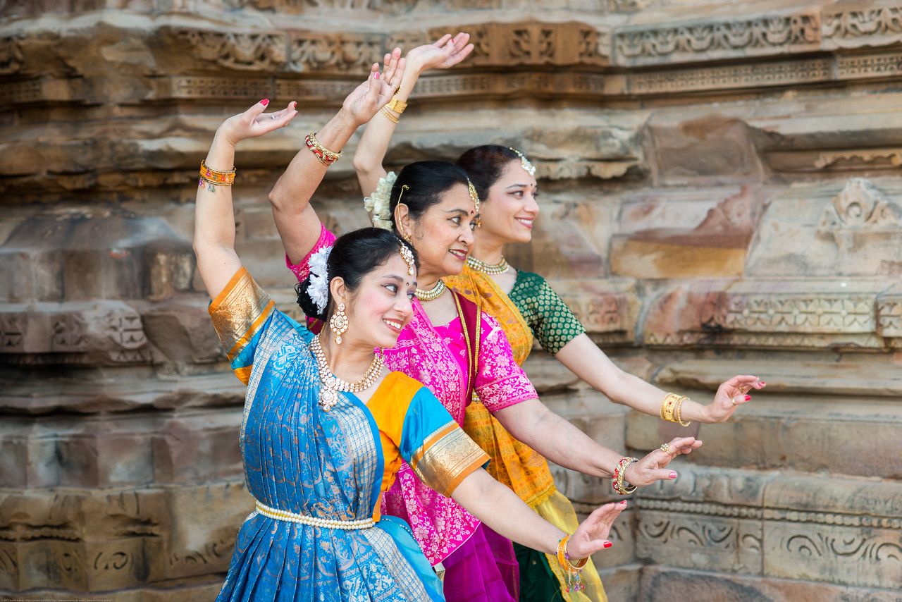 Sarika Prabhu Haris, Mukta Sathe, and <br /> Rita Mustaphi, of  Rita Mitra Mustaphi, Katha Dance Theater, USA. While adept in the classical Kathak vocabulary it is infused with contemporary sensibility acquired from interest in expression, rhythm works and movement idioms.<br /> Khajuraho Dance Festival, Feb 2017. Colorful and brilliant classical dance forms of India with roots in the rich cultural traditions offer a feast for the eyes during a weeklong extravaganza. Khajuraho Temples in Madhya Pradesh are popular for their architectural wonders and sculptures.