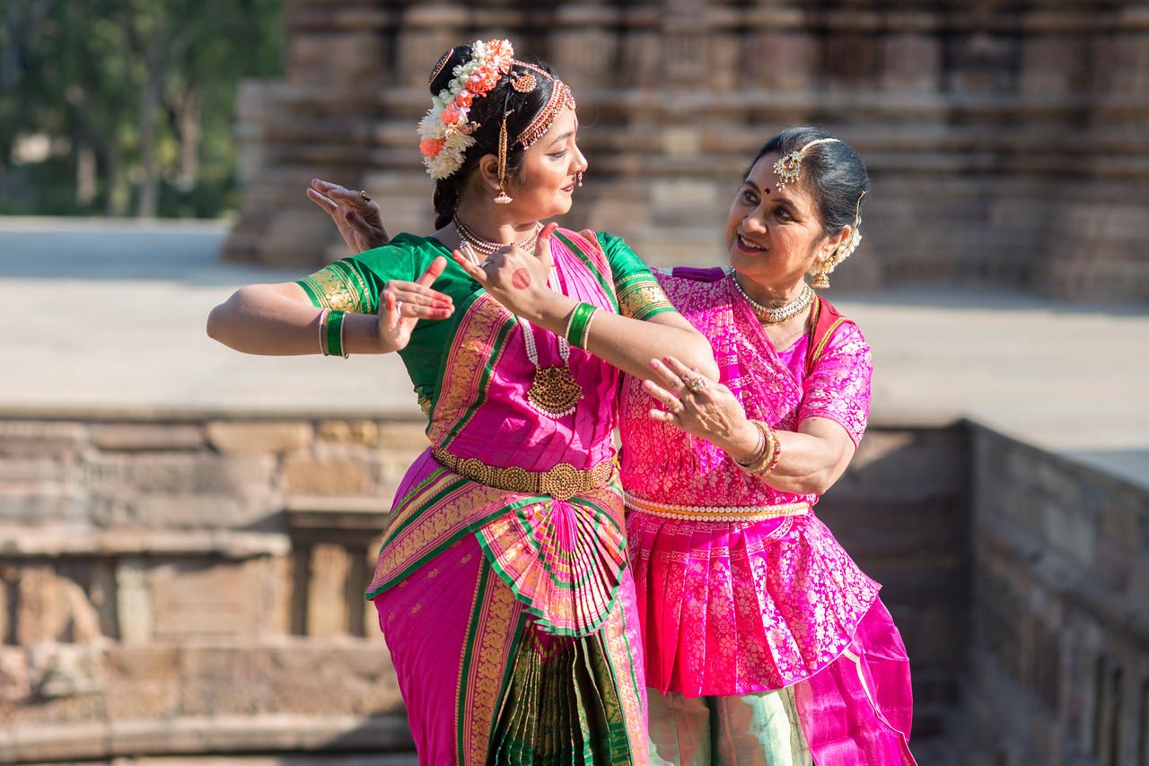 Rita Mustaphi, Katha Dance Theater, USA with Rashmi Joshi from Pune at the Khajuraho Temples in Madhya Pradesh during the Khajuraho Dance Festival, Feb 2017.