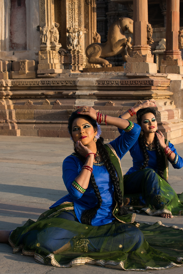 Angel Labonno and Deejay Biju of Lubna Marium's Shadhona Cultural Circle - A Center for Advancement of South Asian Culture, Dhaka, Bangladesh.<br /> Khajuraho Dance Festival, Feb 2017. Colorful and brilliant classical dance forms of India with roots in the rich cultural traditions offer a feast for the eyes during a weeklong extravaganza. Khajuraho Temples in Madhya Pradesh are popular for their architectural wonders and sculptures.
