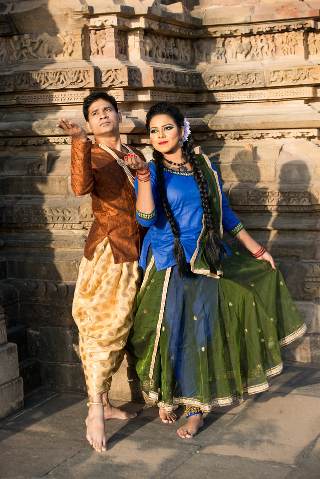 Angel Labonno and Deejay Biju of Lubna Marium's Shadhona Cultural Circle - A Center for Advancement of South Asian Culture, Dhaka, Bangladesh. Shadhona, participated for the second time in the prestigious four-decade old Khajuraho Dance Festival 2017 besides the amazing 10th century temples this time representing Bangladesh as the guest country.<br /> <br /> Khajuraho Dance Festival, Feb 2017. Colorful and brilliant classical dance forms of India with roots in the rich cultural traditions offer a feast for the eyes during a weeklong extravaganza. Khajuraho Temples in Madhya Pradesh are popular for their architectural wonders and sculptures.