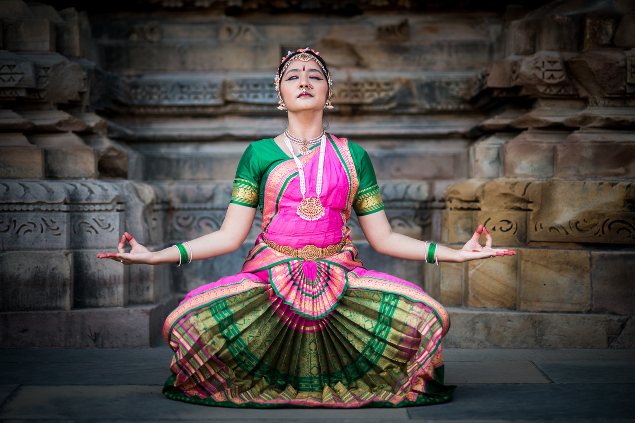 Rashmi Joshi, Pune striking a Shiva pose.<br /> Khajuraho Dance Festival, Feb 2017. Colorful and brilliant classical dance forms of India with roots in the rich cultural traditions offer a feast for the eyes during a weeklong extravaganza. Khajuraho Temples in Madhya Pradesh are popular for their architectural wonders and sculptures.