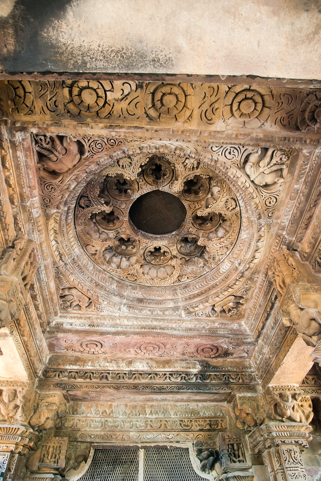 Finely carved ceilings and detailed stone carvings at Khajuraho. Khajuraho - Land Of The Moon God is located in the Indian state of Madhya Pradesh (MP) and roughly 620 kilometers (385 miles) southeast of New Delhi. Khajuraho was the cultural capital of the Chandela Rajputs.