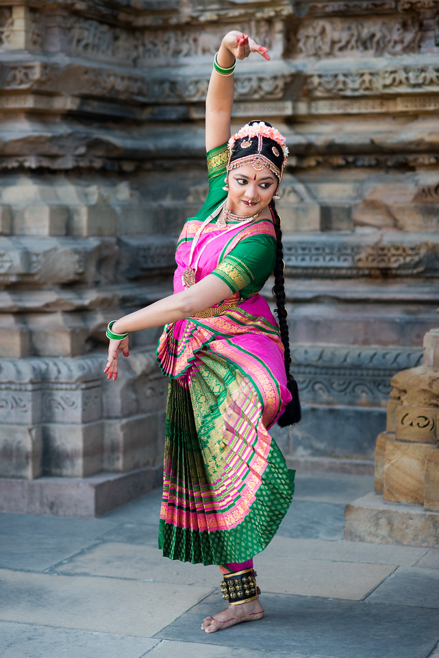 Rashmi Joshi, Pune in her traditional bharatnatyam dress.<br /> Khajuraho Dance Festival, Feb 2017. Colorful and brilliant classical dance forms of India with roots in the rich cultural traditions offer a feast for the eyes during a weeklong extravaganza. Khajuraho Temples in Madhya Pradesh are popular for their architectural wonders and sculptures.