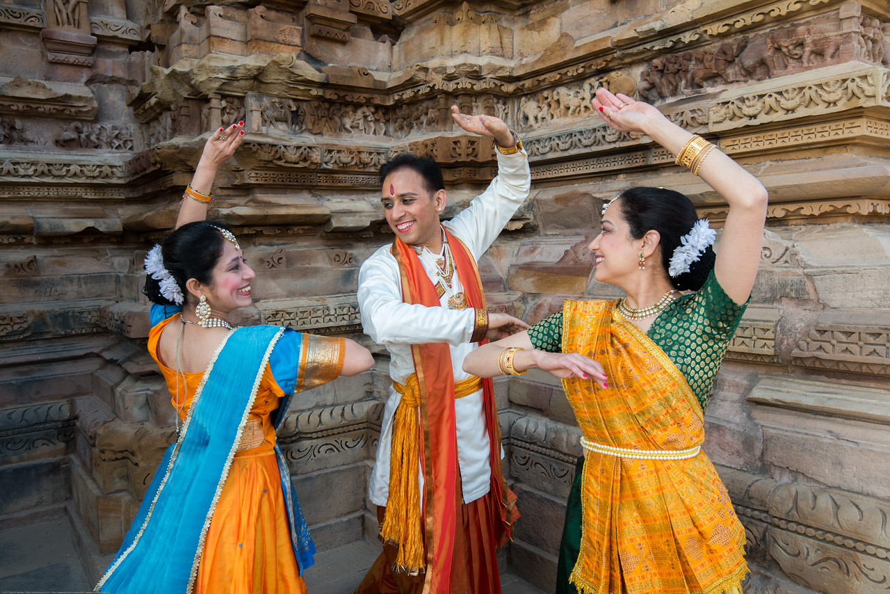 Anurag Sharma,  Sarika Prabhu Haris, <br /> and Mukta Sathe, of Rita Mitra Mustaphi, Katha Dance Theater, USA. While adept in the classical Kathak vocabulary it is infused with contemporary sensibility acquired from interest in expression, rhythm works and movement idioms.<br /> Khajuraho Dance Festival, Feb 2017. Colorful and brilliant classical dance forms of India with roots in the rich cultural traditions offer a feast for the eyes during a weeklong extravaganza. Khajuraho Temples in Madhya Pradesh are popular for their architectural wonders and sculptures.