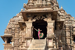 Dancer Rashmi Joshi, in traditional bharatnatyam dress at the Khajuraho Temple complex. Khajuraho - Land Of The Moon God. Located in the Indian state of Madhya Pradesh (MP) and roughly 620 k ...