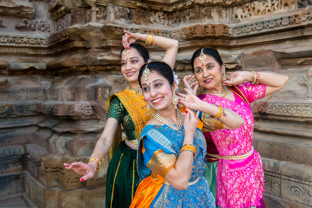 Sarika Prabhu Haris, Mukta Sathe, and Rita Mustaphi of <br /> Rita Mitra Mustaphi, Katha Dance Theater, USA. While adept in the classical Kathak vocabulary it is infused with contemporary sensibility acquired from interest in expression, rhythm works and movement idioms.<br /> Khajuraho Dance Festival, Feb 2017. Colorful and brilliant classical dance forms of India with roots in the rich cultural traditions offer a feast for the eyes during a weeklong extravaganza. Khajuraho Temples in Madhya Pradesh are popular for their architectural wonders and sculptures.