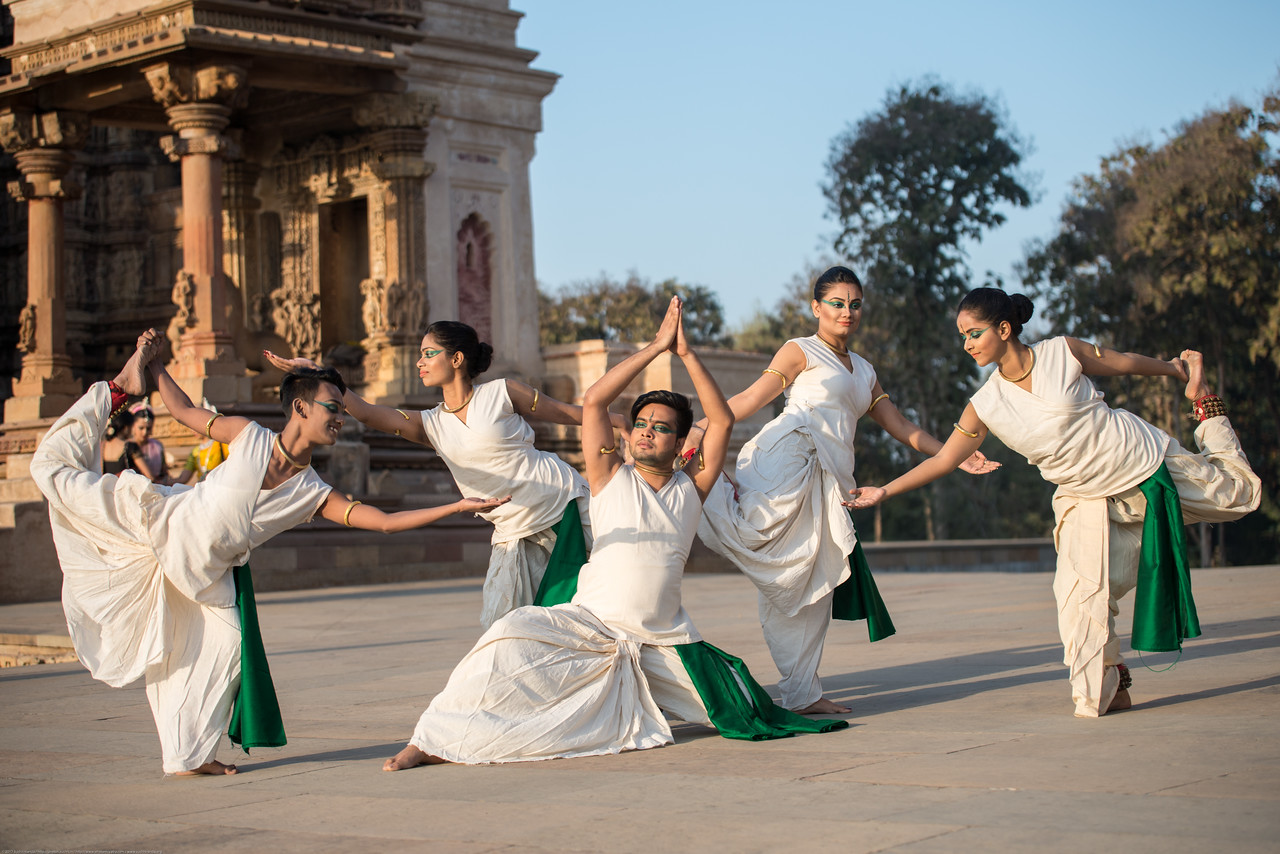 Lubna Marium's Shadhona Cultural Circle - A Center for Advancement of South Asian Culture, Dhaka, Bangladesh. Shadhona, participated for the second time in the prestigious four-decade old Khajuraho Dance Festival 2017 besides the amazing 10th century temples this time representing Bangladesh as the guest country.<br /> <br /> Lubna Marium, artistic director of Shadhona, curated the presentation, entitled 'Bangladesh --A Land of <br /> Myths and Rivers', which had four  segments daily; dance performances; an exposition of Bangladesh's <br /> cultural practices through exquisitely painted 'pata-chitra', or scroll-paintings; a photographic exhibition on Bangladesh's rivers; and a display of the arts and crafts of Bangladesh, including the revival of Muslin weaving.<br /> <br /> Khajuraho Dance Festival, Feb 2017. Colorful and brilliant classical dance forms of India with roots in the rich cultural traditions offer a feast for the eyes during a weeklong extravaganza. Khajuraho Temples in Madhya Pradesh are popular for their architectural wonders and sculptures.