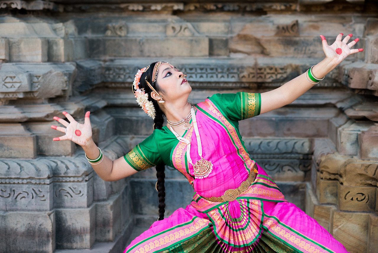 Bharatnatyam dancer from Pune: Rashmi Joshi at Khajuraho.<br /> Khajuraho Dance Festival, Feb 2017. Colorful and brilliant classical dance forms of India with roots in the rich cultural traditions offer a feast for the eyes during a weeklong extravaganza. Khajuraho Temples in Madhya Pradesh are popular for their architectural wonders and sculptures.
