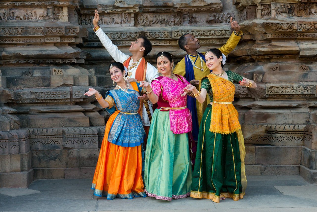 Anurag Sharma, Sarika Prabhu Haris, Mukta Sathe, and Rita Mustaphi, <br /> of Rita Mitra Mustaphi, Katha Dance Theater, USA. While adept in the classical Kathak vocabulary it is infused with contemporary sensibility acquired from interest in expression, rhythm works and movement idioms.<br /> Khajuraho Dance Festival, Feb 2017. Colorful and brilliant classical dance forms of India with roots in the rich cultural traditions offer a feast for the eyes during a weeklong extravaganza. Khajuraho Temples in Madhya Pradesh are popular for their architectural wonders and sculptures.