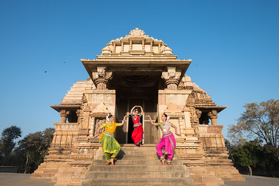 Dhruvi Saachi Jaiin, Namrata Mehta and Subrata Tripathy, Kaishiki. Khajuraho Dance Festival, Feb 2017. Colorful and brilliant classical dance forms of India with roots in the rich cultural traditions offer a feast for the eyes during a weeklong extravaganza. Khajuraho Temples in Madhya Pradesh are popular for their architectural wonders and sculptures.