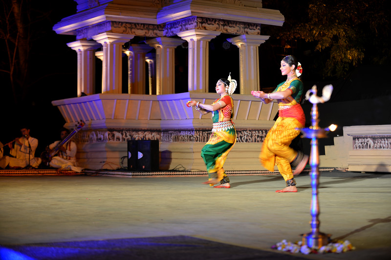 "Dakshina Vaidyanathan & Sanchita Banarjee, Delhi perform Bharatnatyam & Odissi at the Khajuraho Festival of Dances February, 2014.<br /> <br /> Khajuraho Festival of Dances is celebrated at a time when the hardness of winter begins to fade and the king of all seasons, spring, takes over. The most colorful and brilliant classical dance forms of india with their roots in the ling and rich cultural traditions across the country, offer a feast for the eyes during a weeklong extravaganza.<br /> <br /> Khajuraho is located in the Indian state of Madhya Pradesh and roughly 620 kilometers (385 miles) southeast of New Delhi, the temples of Khajuraho are famous for their so-called ""erotic sculptures"". Khajuraho was the cultural capital of the Chandela Rajputs, a Hindu dynasty that ruled from the 10th to 12th centuries."