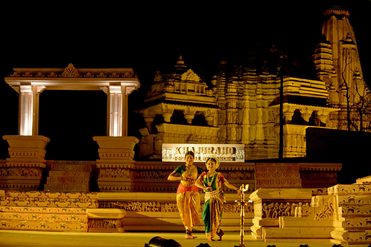 "Dakshina Vaidyanathan & Sanchita Banarjee performed Bharatnatyam & Odissi dance at the Khajuraho Festival of Dances, February, 2014.<br /> <br /> Khajuraho Festival of Dances is celebrated at a time when the hardness of winter begins to fade and the king of all seasons, spring, takes over. The most colorful and brilliant classical dance forms of India with their roots in the ling and rich cultural traditions across the country, offer a feast for the eyes during a weeklong extravaganza.<br /> <br /> Khajuraho is located in the Indian state of Madhya Pradesh and roughly 620 kilometers (385 miles) southeast of New Delhi, the temples of Khajuraho are famous for their so-called ""erotic sculptures"". Khajuraho was the cultural capital of the Chandela Rajputs, a Hindu dynasty that ruled from the 10th to 12th centuries."