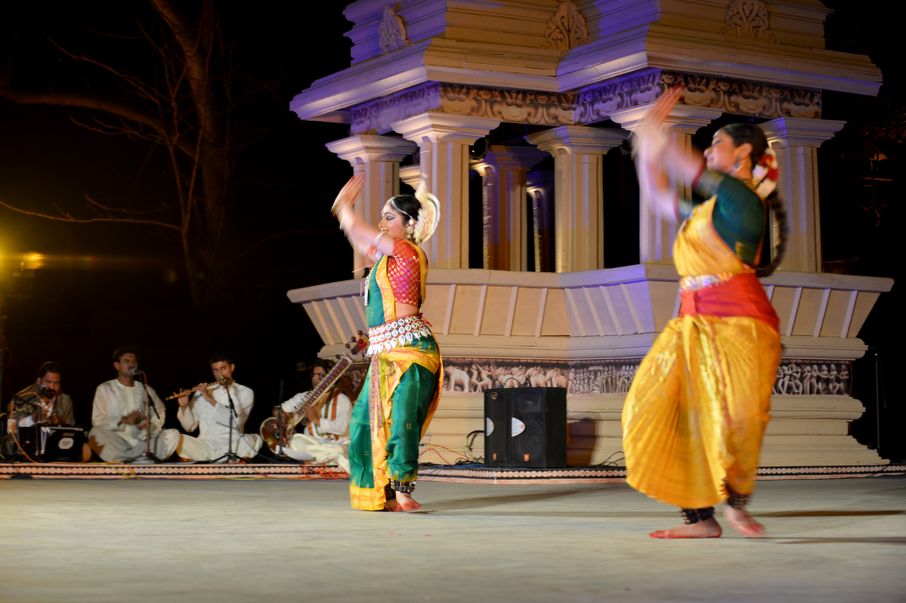 "Dakshina Vaidyanathan & Sanchita Banarjee, perform Bharatnatyam & Odissi dance at the Khajuraho Festival of Dances, February, 2014.<br /> <br /> Khajuraho Festival of Dances is celebrated at a time when the hardness of winter begins to fade and the king of all seasons, spring, takes over. The most colorful and brilliant classical dance forms of India with their roots in the ling and rich cultural traditions across the country, offer a feast for the eyes during a weeklong extravaganza.<br /> <br /> Khajuraho is located in the Indian state of Madhya Pradesh and roughly 620 kilometers (385 miles) southeast of New Delhi, the temples of Khajuraho are famous for their so-called ""erotic sculptures"". Khajuraho was the cultural capital of the Chandela Rajputs, a Hindu dynasty that ruled from the 10th to 12th centuries."
