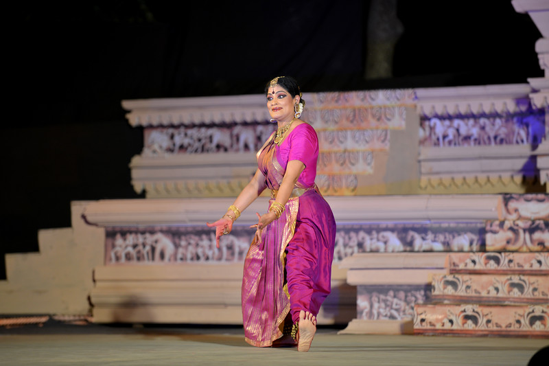 """Bharatnatyam dancer Geeta Chandran Founder, President, NATYA VRIKSHA, New Delhi at the Khajuraho Festival of Dances.<br /> <br /> This festival is celebrated at a time when the hardness of winter begins to fade and the king of all seasons, spring, takes over. The most colorful and brilliant classical dance forms of india with their roots in the ling and rich cultural traditions across the country, offer a feast for the eyes during a weeklong extravaganza.<br /> <br /> Khajuraho is located in the Indian state of Madhya Pradesh and roughly 620 kilometers (385 miles) southeast of New Delhi, the temples of Khajuraho are famous for their so-called """"erotic sculptures"""". Khajuraho was the cultural capital of the Chandela Rajputs, a Hindu dynasty that ruled from the 10th to 12th centuries."""
