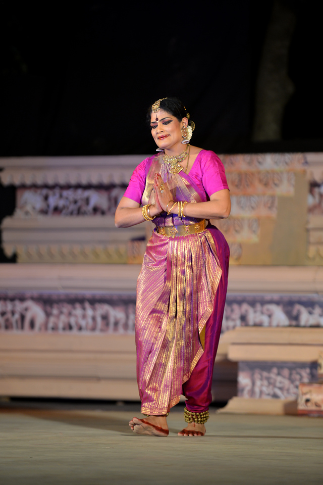 "Bharatnatyam dancer Geeta Chandran Founder, President, NATYA VRIKSHA, New Delhi at the Khajuraho Festival of Dances.<br /> <br /> This festival is celebrated at a time when the hardness of winter begins to fade and the king of all seasons, spring, takes over. The most colorful and brilliant classical dance forms of india with their roots in the ling and rich cultural traditions across the country, offer a feast for the eyes during a weeklong extravaganza.<br /> <br /> Khajuraho is located in the Indian state of Madhya Pradesh and roughly 620 kilometers (385 miles) southeast of New Delhi, the temples of Khajuraho are famous for their so-called ""erotic sculptures"". Khajuraho was the cultural capital of the Chandela Rajputs, a Hindu dynasty that ruled from the 10th to 12th centuries."