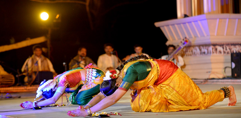 "Dakshina Vaidyanathan & Sanchita Banarjee, Delhi perform Bharatnatyam & Odissi at the Khajuraho Festival of Dances February, 2014.  Khajuraho Festival of Dances is celebrated at a time when the hardness of winter begins to fade and the king of all seasons, spring, takes over. The most colorful and brilliant classical dance forms of india with their roots in the ling and rich cultural traditions across the country, offer a feast for the eyes during a weeklong extravaganza.  Khajuraho is located in the Indian state of Madhya Pradesh and roughly 620 kilometers (385 miles) southeast of New Delhi, the temples of Khajuraho are famous for their so-called ""erotic sculptures"". Khajuraho was the cultural capital of the Chandela Rajputs, a Hindu dynasty that ruled from the 10th to 12th centuries."