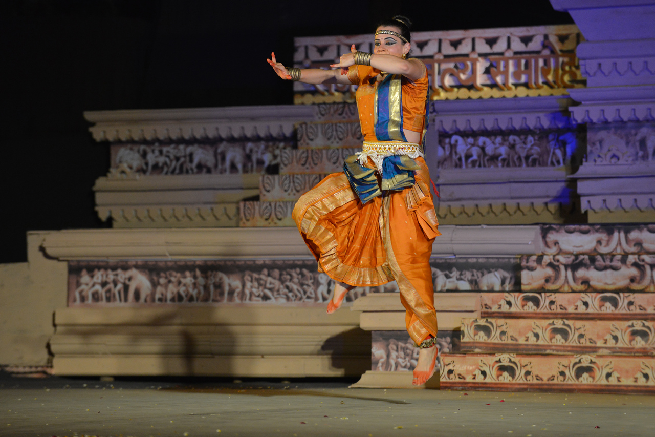 "Carolina Prada, performed Chhau dance at the Khajuraho Festival of Dances February, 2014.<br /> <br /> Khajuraho Festival of Dances is celebrated at a time when the hardness of winter begins to fade and the king of all seasons, spring, takes over. The most colorful and brilliant classical dance forms of India with their roots in the ling and rich cultural traditions across the country, offer a feast for the eyes during a weeklong extravaganza.<br /> <br /> Khajuraho is located in the Indian state of Madhya Pradesh and roughly 620 kilometers (385 miles) southeast of New Delhi, the temples of Khajuraho are famous for their so-called ""erotic sculptures"". Khajuraho was the cultural capital of the Chandela Rajputs, a Hindu dynasty that ruled from the 10th to 12th centuries."