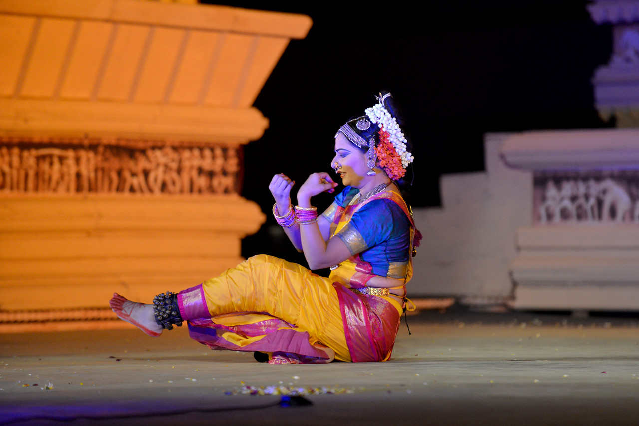 "Abhinaya Nagajothy performed Kuchipudi dance at the Khajuraho Festival of Dances February, 2014.<br /> <br /> Khajuraho Festival of Dances is celebrated at a time when the hardness of winter begins to fade and the king of all seasons, spring, takes over. The most colorful and brilliant classical dance forms of India with their roots in the ling and rich cultural traditions across the country, offer a feast for the eyes during a weeklong extravaganza.<br /> <br /> Khajuraho is located in the Indian state of Madhya Pradesh and roughly 620 kilometers (385 miles) southeast of New Delhi, the temples of Khajuraho are famous for their so-called ""erotic sculptures"". Khajuraho was the cultural capital of the Chandela Rajputs, a Hindu dynasty that ruled from the 10th to 12th centuries."