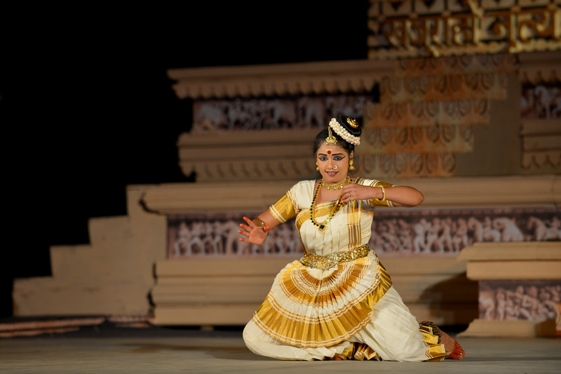 """Sujata Nair Sanjay performed the Mohini Attam dance at the Khajuraho Festival of Dances, February, 2014.<br /> <br /> Khajuraho Festival of Dances is celebrated at a time when the hardness of winter begins to fade and the king of all seasons, spring, takes over. The most colorful and brilliant classical dance forms of India with their roots in the ling and rich cultural traditions across the country, offer a feast for the eyes during a weeklong extravaganza.<br /> <br /> Khajuraho is located in the Indian state of Madhya Pradesh and roughly 620 kilometers (385 miles) southeast of New Delhi, the temples of Khajuraho are famous for their so-called """"erotic sculptures"""". Khajuraho was the cultural capital of the Chandela Rajputs, a Hindu dynasty that ruled from the 10th to 12th centuries."""