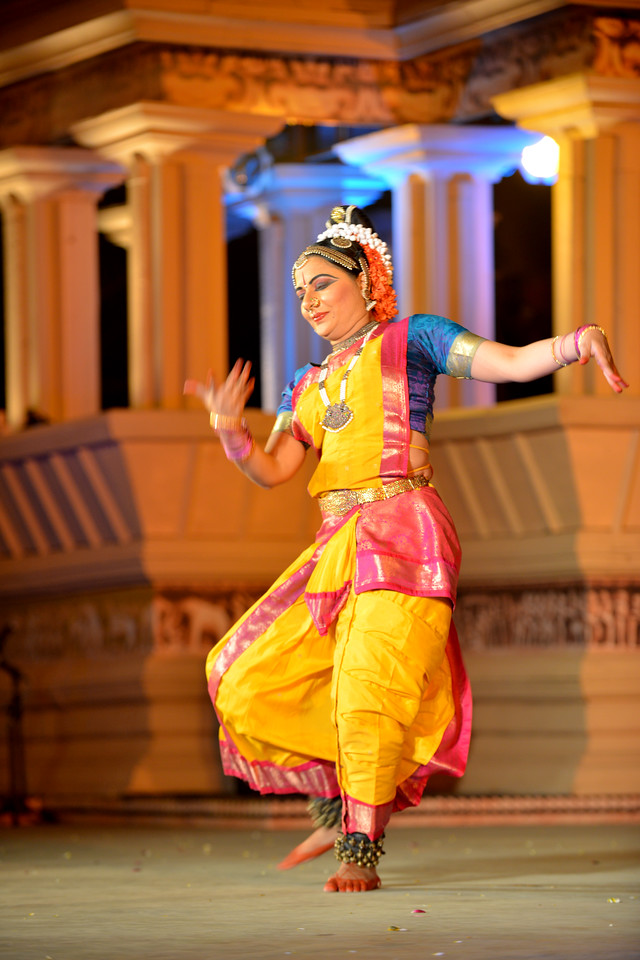 """Abhinaya Nagajothy performed Kuchipudi dance at the Khajuraho Festival of Dances February, 2014.<br /> <br /> Khajuraho Festival of Dances is celebrated at a time when the hardness of winter begins to fade and the king of all seasons, spring, takes over. The most colorful and brilliant classical dance forms of India with their roots in the ling and rich cultural traditions across the country, offer a feast for the eyes during a weeklong extravaganza.<br /> <br /> Khajuraho is located in the Indian state of Madhya Pradesh and roughly 620 kilometers (385 miles) southeast of New Delhi, the temples of Khajuraho are famous for their so-called """"erotic sculptures"""". Khajuraho was the cultural capital of the Chandela Rajputs, a Hindu dynasty that ruled from the 10th to 12th centuries."""