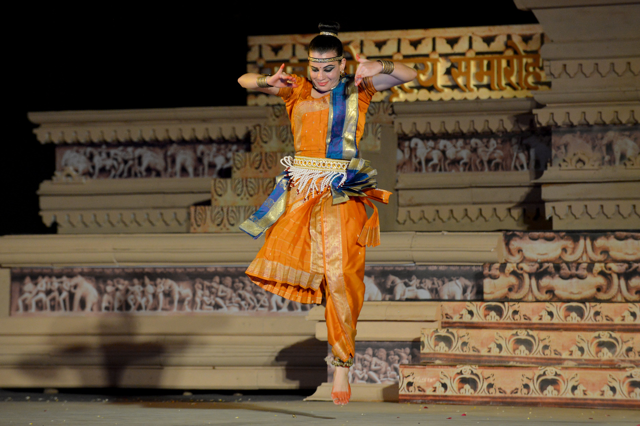 """Carolina Prada, performed Chhau dance at the Khajuraho Festival of Dances February, 2014.<br /> <br /> Khajuraho Festival of Dances is celebrated at a time when the hardness of winter begins to fade and the king of all seasons, spring, takes over. The most colorful and brilliant classical dance forms of India with their roots in the ling and rich cultural traditions across the country, offer a feast for the eyes during a weeklong extravaganza.<br /> <br /> Khajuraho is located in the Indian state of Madhya Pradesh and roughly 620 kilometers (385 miles) southeast of New Delhi, the temples of Khajuraho are famous for their so-called """"erotic sculptures"""". Khajuraho was the cultural capital of the Chandela Rajputs, a Hindu dynasty that ruled from the 10th to 12th centuries."""