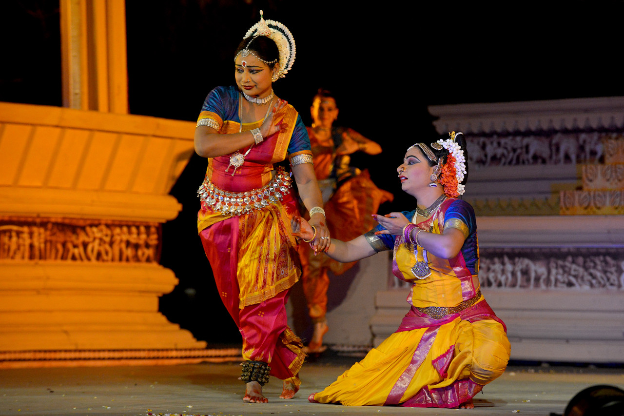 """Carolina Prada, Nibedita Mohapatra, Abhinaya Nagajothy  performed Chhau, Odissi, Kuchipudi at the Khajuraho Festival of Dances February, 2014.<br /> <br /> Khajuraho Festival of Dances is celebrated at a time when the hardness of winter begins to fade and the king of all seasons, spring, takes over. The most colorful and brilliant classical dance forms of India with their roots in the ling and rich cultural traditions across the country, offer a feast for the eyes during a weeklong extravaganza.<br /> <br /> Khajuraho is located in the Indian state of Madhya Pradesh and roughly 620 kilometers (385 miles) southeast of New Delhi, the temples of Khajuraho are famous for their so-called """"erotic sculptures"""". Khajuraho was the cultural capital of the Chandela Rajputs, a Hindu dynasty that ruled from the 10th to 12th centuries."""