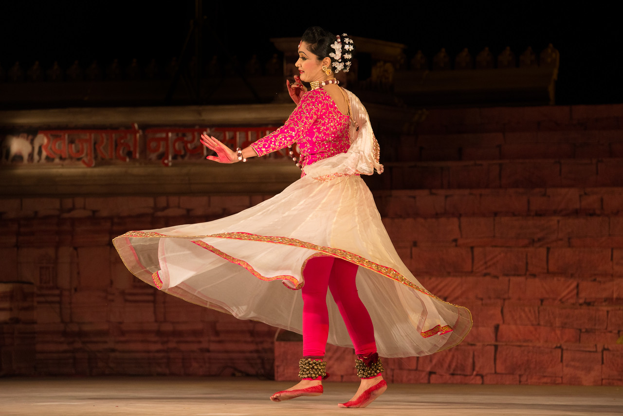 Yasmin Singh, is an accomplished Kathak dancer championing Raigarh Gharana. 'Lucknow Gharana' is the other style of Kathak, in which she has a special interest. She believes in harmonization of different genres of Kathak. She is triple M.A in History, Social Work and Kathak. She also has MPhil Degree in History. She has a Bachelor Degree of Education.Presently she is working as a Director with Government of Chhattisgarh (Swachh Bharat Mission).<br /> <br /> Khajuraho Dance Festival 21st Feb'17. Colorful and brilliant classical dance forms of India with roots in the rich cultural traditions offer a feast for the eyes during a weeklong extravaganza. Khajuraho Temples in Madhya Pradesh are popular for their architectural wonders and sculptures.