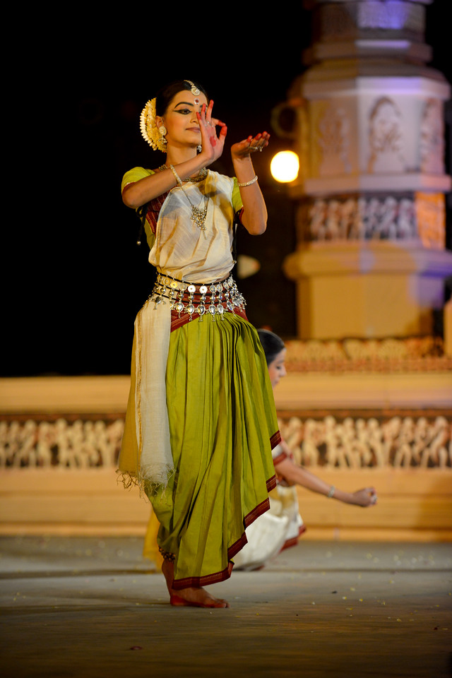 "Vaidehi Phagre. Odissi performance by Bindu Juneja at the Khajuraho Festival of Dances February, 2014.<br /> <br /> Khajuraho Festival of Dances is celebrated at a time when the hardness of winter begins to fade and the king of all seasons, spring, takes over. The most colorful and brilliant classical dance forms of India with their roots in the ling and rich cultural traditions across the country, offer a feast for the eyes during a weeklong extravaganza.<br /> <br /> Khajuraho is located in the Indian state of Madhya Pradesh and roughly 620 kilometers (385 miles) southeast of New Delhi, the temples of Khajuraho are famous for their so-called ""erotic sculptures"". Khajuraho was the cultural capital of the Chandela Rajputs, a Hindu dynasty that ruled from the 10th to 12th centuries."