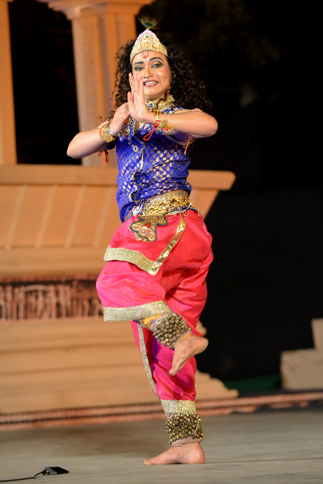 """Vishal Krishna - Kathak performance at the Khajuraho Festival of Dances February, 2014.<br /> <br /> Khajuraho Festival of Dances is celebrated at a time when the hardness of winter begins to fade and the king of all seasons, spring, takes over. The most colorful and brilliant classical dance forms of India with their roots in the ling and rich cultural traditions across the country, offer a feast for the eyes during a weeklong extravaganza.<br /> <br /> Khajuraho is located in the Indian state of Madhya Pradesh and roughly 620 kilometers (385 miles) southeast of New Delhi, the temples of Khajuraho are famous for their so-called """"erotic sculptures"""". Khajuraho was the cultural capital of the Chandela Rajputs, a Hindu dynasty that ruled from the 10th to 12th centuries."""
