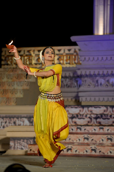 "Kalyani Phagre. Odissi performance by Bindu Juneja at the Khajuraho Festival of Dances February, 2014.<br /> <br /> Khajuraho Festival of Dances is celebrated at a time when the hardness of winter begins to fade and the king of all seasons, spring, takes over. The most colorful and brilliant classical dance forms of India with their roots in the ling and rich cultural traditions across the country, offer a feast for the eyes during a weeklong extravaganza.<br /> <br /> Khajuraho is located in the Indian state of Madhya Pradesh and roughly 620 kilometers (385 miles) southeast of New Delhi, the temples of Khajuraho are famous for their so-called ""erotic sculptures"". Khajuraho was the cultural capital of the Chandela Rajputs, a Hindu dynasty that ruled from the 10th to 12th centuries."