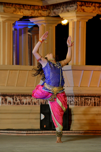 """Kathak performance by Vishal Krishna at the Khajuraho Festival of Dances February, 2014.<br /> <br /> Khajuraho Festival of Dances is celebrated at a time when the hardness of winter begins to fade and the king of all seasons, spring, takes over. The most colorful and brilliant classical dance forms of India with their roots in the ling and rich cultural traditions across the country, offer a feast for the eyes during a weeklong extravaganza.<br /> <br /> Khajuraho is located in the Indian state of Madhya Pradesh and roughly 620 kilometers (385 miles) southeast of New Delhi, the temples of Khajuraho are famous for their so-called """"erotic sculptures"""". Khajuraho was the cultural capital of the Chandela Rajputs, a Hindu dynasty that ruled from the 10th to 12th centuries."""