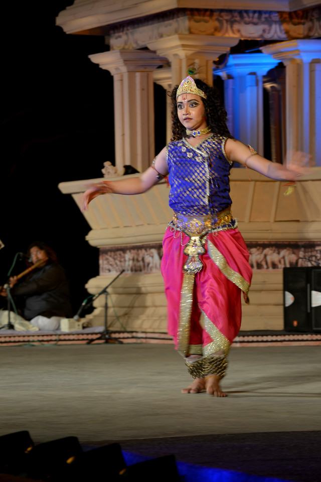 "Kathak performance by Vishal Krishna at the Khajuraho Festival of Dances February, 2014.<br /> <br /> Khajuraho Festival of Dances is celebrated at a time when the hardness of winter begins to fade and the king of all seasons, spring, takes over. The most colorful and brilliant classical dance forms of India with their roots in the ling and rich cultural traditions across the country, offer a feast for the eyes during a weeklong extravaganza.<br /> <br /> Khajuraho is located in the Indian state of Madhya Pradesh and roughly 620 kilometers (385 miles) southeast of New Delhi, the temples of Khajuraho are famous for their so-called ""erotic sculptures"". Khajuraho was the cultural capital of the Chandela Rajputs, a Hindu dynasty that ruled from the 10th to 12th centuries."