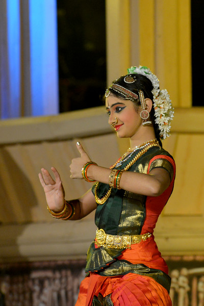 "Mahati Kannan's Bharatnatyam dance performance at the Khajuraho Festival of Dances.<br /> <br /> This festival is celebrated at a time when the hardness of winter begins to fade and the king of all seasons, spring, takes over. The most colorful and brilliant classical dance forms of india with their roots in the ling and rich cultural traditions across the country, offer a feast for the eyes during a weeklong extravaganza.<br /> <br /> Khajuraho is located in the Indian state of Madhya Pradesh and roughly 620 kilometers (385 miles) southeast of New Delhi, the temples of Khajuraho are famous for their so-called ""erotic sculptures"". Khajuraho was the cultural capital of the Chandela Rajputs, a Hindu dynasty that ruled from the 10th to 12th centuries."