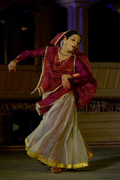 "Vidyagauri Adkar's Kathak performance at the Khajuraho Festival of Dances.<br /> <br /> This festival is celebrated at a time when the hardness of winter begins to fade and the king of all seasons, spring, takes over. The most colorful and brilliant classical dance forms of india with their roots in the ling and rich cultural traditions across the country, offer a feast for the eyes during a weeklong extravaganza.<br /> <br /> Khajuraho is located in the Indian state of Madhya Pradesh and roughly 620 kilometers (385 miles) southeast of New Delhi, the temples of Khajuraho are famous for their so-called ""erotic sculptures"". Khajuraho was the cultural capital of the Chandela Rajputs, a Hindu dynasty that ruled from the 10th to 12th centuries."