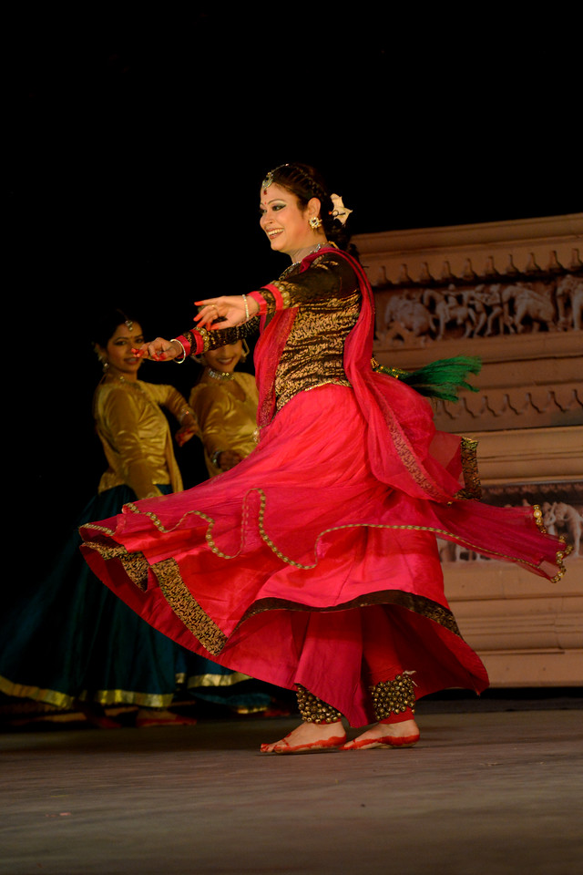 "Kathak & Uzbek dance performance by Samiksha Sharma, Dhirendra Tiwari, and Diyor Aliev at the Khajuraho Festival of Dances February, 2014.<br /> <br /> Khajuraho Festival of Dances is celebrated at a time when the hardness of winter begins to fade and the king of all seasons, spring, takes over. The most colorful and brilliant classical dance forms of India with their roots in the ling and rich cultural traditions across the country, offer a feast for the eyes during a weeklong extravaganza.<br /> <br /> Khajuraho is located in the Indian state of Madhya Pradesh and roughly 620 kilometers (385 miles) southeast of New Delhi, the temples of Khajuraho are famous for their so-called ""erotic sculptures"". Khajuraho was the cultural capital of the Chandela Rajputs, a Hindu dynasty that ruled from the 10th to 12th centuries."