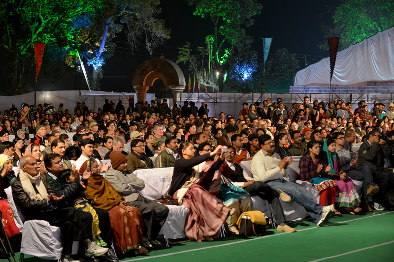 "Packed crowds at the Festival.<br /> <br /> Khajuraho Festival of Dances is celebrated at a time when the hardness of winter begins to fade and the king of all seasons, spring, takes over. The most colorful and brilliant classical dance forms of India with their roots in the ling and rich cultural traditions across the country, offer a feast for the eyes during a weeklong extravaganza.<br /> <br /> Khajuraho is located in the Indian state of Madhya Pradesh and roughly 620 kilometers (385 miles) southeast of New Delhi, the temples of Khajuraho are famous for their so-called ""erotic sculptures"". Khajuraho was the cultural capital of the Chandela Rajputs, a Hindu dynasty that ruled from the 10th to 12th centuries."