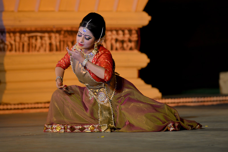 """Meghranjani Medhi is a young and promising artist of Kathak dance.   Marami Medhi, Meghranjani, Dipjyoti, and Dipankar & Troupe's Kathak & Satriya dance performance at the Khajuraho Festival of Dances.  This festival is celebrated at a time when the hardness of winter begins to fade and the king of all seasons, spring, takes over. The most colorful and brilliant classical dance forms of india with their roots in the ling and rich cultural traditions across the country, offer a feast for the eyes during a weeklong extravaganza.  Khajuraho is located in the Indian state of Madhya Pradesh and roughly 620 kilometers (385 miles) southeast of New Delhi, the temples of Khajuraho are famous for their so-called """"erotic sculptures"""". Khajuraho was the cultural capital of the Chandela Rajputs, a Hindu dynasty that ruled from the 10th to 12th centuries."""