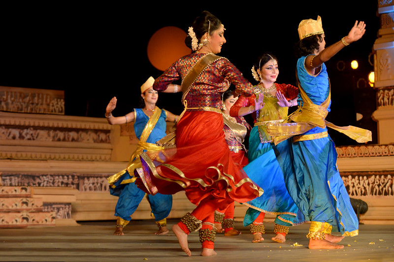 "Marami Medhi, Meghranjani, Dipjyoti, and Dipankar & Troupe's Kathak & Satriya dance performance at the Khajuraho Festival of Dances.  This festival is celebrated at a time when the hardness of winter begins to fade and the king of all seasons, spring, takes over. The most colorful and brilliant classical dance forms of india with their roots in the ling and rich cultural traditions across the country, offer a feast for the eyes during a weeklong extravaganza.  Khajuraho is located in the Indian state of Madhya Pradesh and roughly 620 kilometers (385 miles) southeast of New Delhi, the temples of Khajuraho are famous for their so-called ""erotic sculptures"". Khajuraho was the cultural capital of the Chandela Rajputs, a Hindu dynasty that ruled from the 10th to 12th centuries."