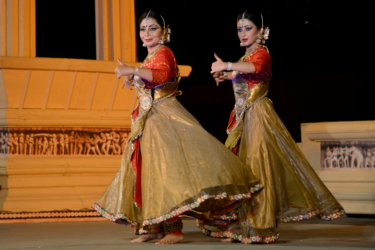 "Marami Medhi, Meghranjani, Dipjyoti, and Dipankar & Troupe's Kathak & Satriya dance performance at the Khajuraho Festival of Dances.<br /> <br /> This festival is celebrated at a time when the hardness of winter begins to fade and the king of all seasons, spring, takes over. The most colorful and brilliant classical dance forms of india with their roots in the ling and rich cultural traditions across the country, offer a feast for the eyes during a weeklong extravaganza.<br /> <br /> Khajuraho is located in the Indian state of Madhya Pradesh and roughly 620 kilometers (385 miles) southeast of New Delhi, the temples of Khajuraho are famous for their so-called ""erotic sculptures"". Khajuraho was the cultural capital of the Chandela Rajputs, a Hindu dynasty that ruled from the 10th to 12th centuries."