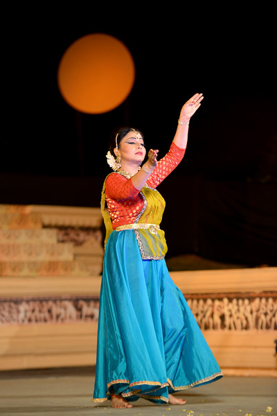 "Marami Medhi, is a dynamic and an accomplished danseuse from Assam is a well known name in the field of Kathak. She is the founder of Kathak dance institute ""Sur Sangam"" located in the heart of Guwahati city. She received her initial training in Kathak dance under the prevailing guidance of Late Charoo Bordoloi, the founder Principal of State College of Music, Guwahati.   Marami Medhi, Meghranjani, Dipjyoti, and Dipankar & Troupe's Kathak & Satriya dance performance at the Khajuraho Festival of Dances.  This festival is celebrated at a time when the hardness of winter begins to fade and the king of all seasons, spring, takes over. The most colorful and brilliant classical dance forms of india with their roots in the ling and rich cultural traditions across the country, offer a feast for the eyes during a weeklong extravaganza.  Khajuraho is located in the Indian state of Madhya Pradesh and roughly 620 kilometers (385 miles) southeast of New Delhi, the temples of Khajuraho are famous for their so-called ""erotic sculptures"". Khajuraho was the cultural capital of the Chandela Rajputs, a Hindu dynasty that ruled from the 10th to 12th centuries."